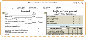 Example Marque Medical SCAT-3 Concussion Assessment Tool. Full description below the image.