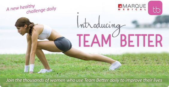 woman in exercise stance with information surrounding her about the Team Better app