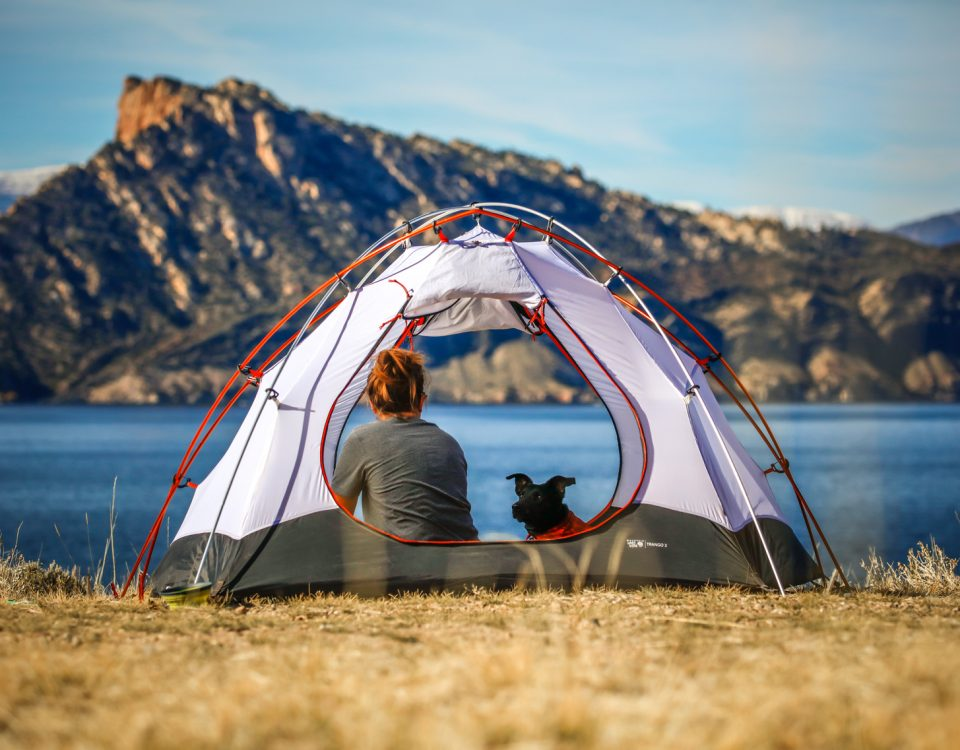 tent in front of lake