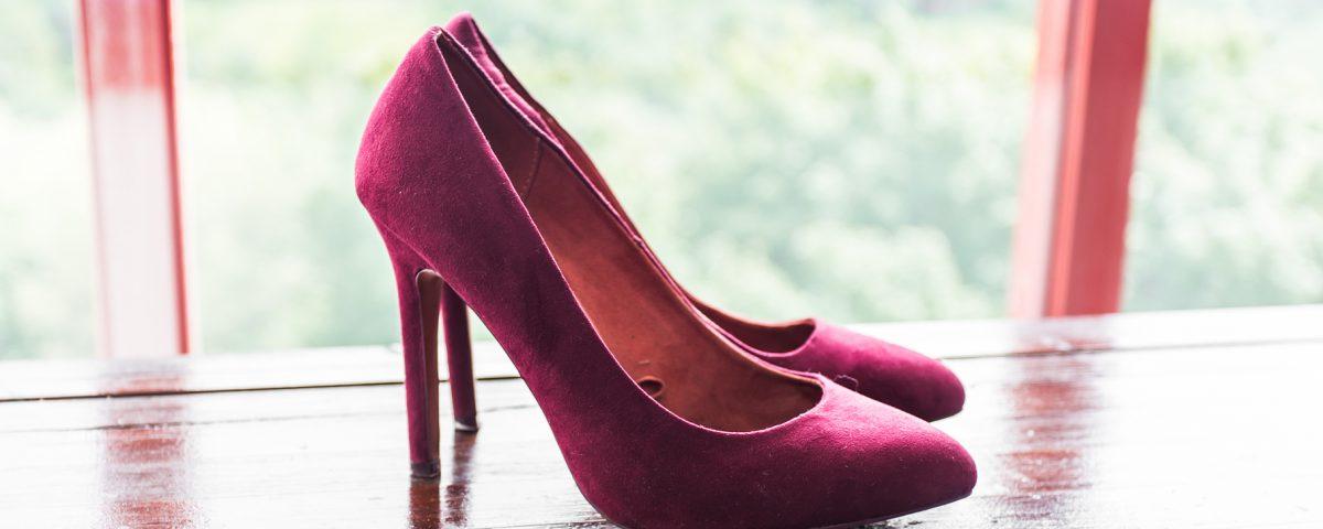 closeup of pink high heels