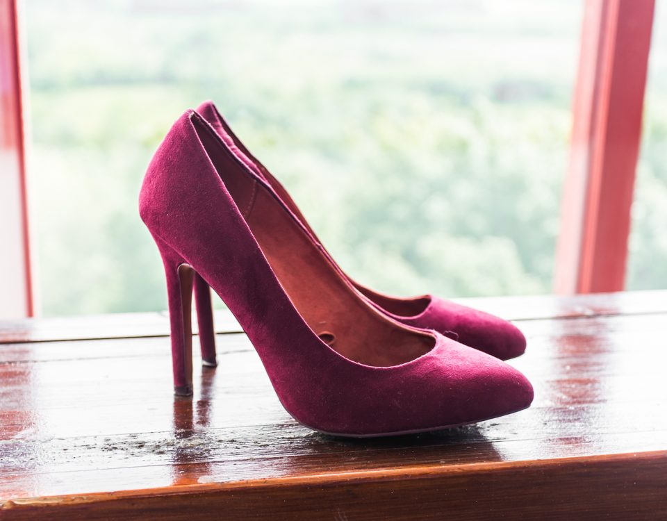 closeup of pink high heels